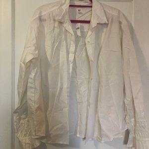 nwt white button up blouse w/ flare arm details